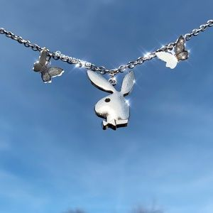 NEW Playboy + Butterfly Silver Unisex Necklace